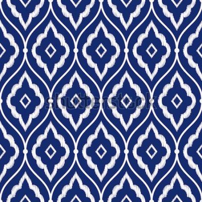 Наклейка Бесшовные фарфоровый синий и белый винтажный персидский икат узор вектор