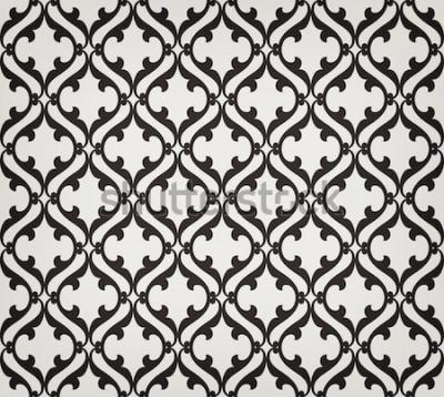 Наклейка Старинные абстрактные цветочные бесшовные. Пересекающиеся изогнутые элегантные стилизованные листья и завитки, образующие абстрактный цветочный орнамент в арабском стиле. Arabesque. Декоративная решет