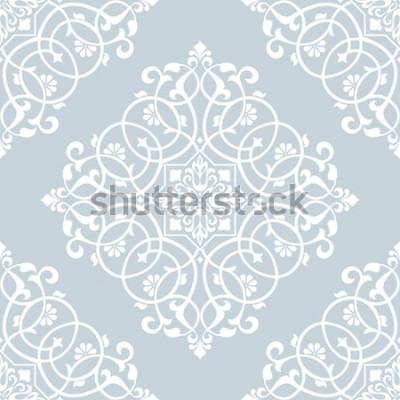 Наклейка Цветочный узор. Обои барокко, дамасские. Бесшовные векторные фон Синий и белый орнамент.