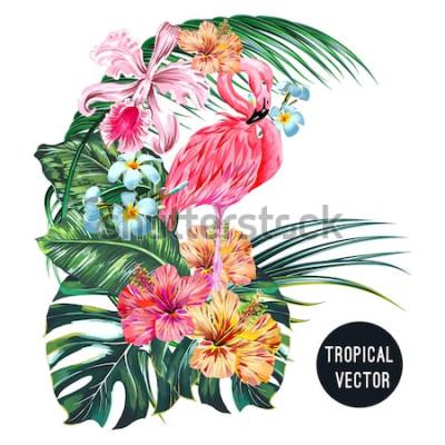 Наклейка Розовая птица фламинго, тропические цветы, листья пальмы, монстера, плюмерия, гибискус, цветок орхидеи, состав листьев джунглей. Векторные экзотические растения ботанические иллюстрации на белом фоне