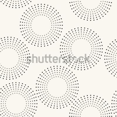 Наклейка Бесшовные с пунктирными кругами. Вектор повторяющиеся текстуры. Стильный фон
