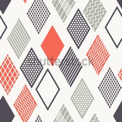 Наклейка Вектор бесшовные модели Современная стильная текстура. Геометрический орнамент с разноцветными ромбами