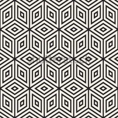 Наклейка Модная монохромная линейная решетка. Абстрактный геометрический фон дизайн. Вектор бесшовные черно-белый узор.