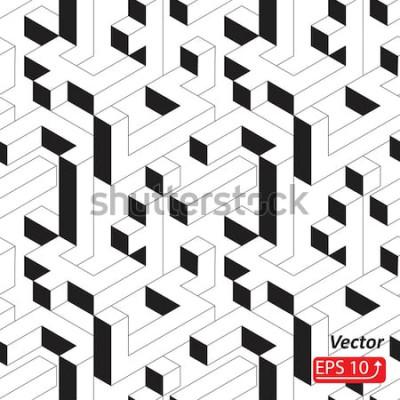 Наклейка Бесшовный фон с дома, здания, город, город в изометрическом стиле. Черно-белый абстрактный фон 3D векторная иллюстрация