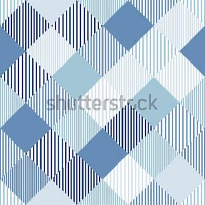Наклейка Синий и белый абстрактный простой проверки полосатый бесшовная текстура, вектор