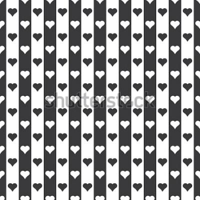 Наклейка Бесшовные черно-белые сердца и полосы узор вектор