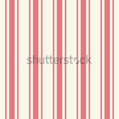 Наклейка Бесшовная тонкая полоска светло-розового цвета в художественном стиле с классическим малиновым принтом на бежевом фоне. Повторение современных пестрых смелых полос. Детальный вид крупным планом с прос