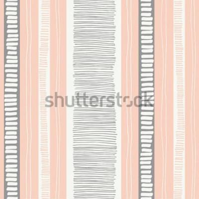 Наклейка Рисованной причудливый текстурированные органические линии и полосы вектор бесшовные модели. Свежий абстрактный геометрический. Scribbles.