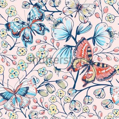 Наклейка Векторные цветочные бесшовный паттерн с старинные бабочки и цветы