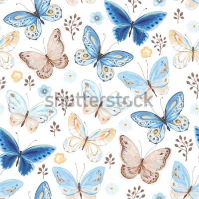 Наклейка Бесшовные летающих бабочек синего, желтого и коричневого цветов. Векторные иллюстрации в винтажном стиле на белом фоне.