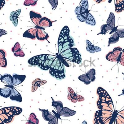 Наклейка Векторный шаблон бабочки. Абстрактный бесшовный фон