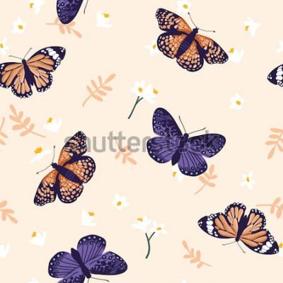 Наклейка Бесшовный узор вектор с яркими бабочками. Ручной обращается дизайн текстуры