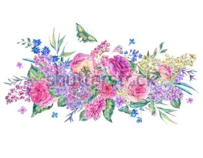 Наклейка Декоративные старинные акварельные открытки с розовыми розами и сиренью, цветами, листьями и бутонами, ботанические цветочные иллюстрации на белом фоне