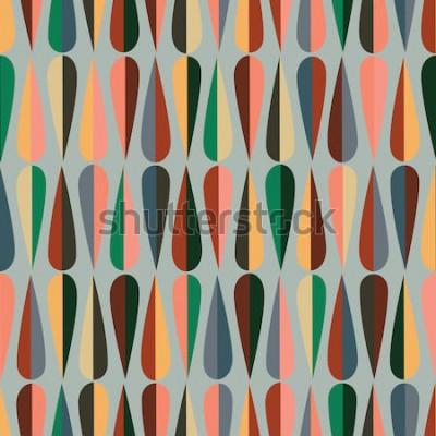 Наклейка Современный стиль середины века ретро бесшовные модели с формами капли в различных цветовых тонах, абстрактный повторяющийся фон для всех веб-и печатных целей.