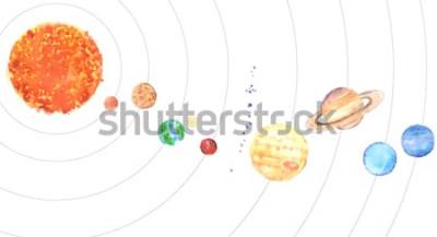 Наклейка Акварель Солнечной системы. Солнце и планеты (Меркурий, Венера, Земля, Марс, Юпитер, Сатурн, Уран, Нептун) на белом фоне.
