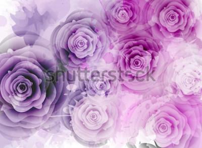 Наклейка Абстрактный фон с розами и элементами гранж всплеск