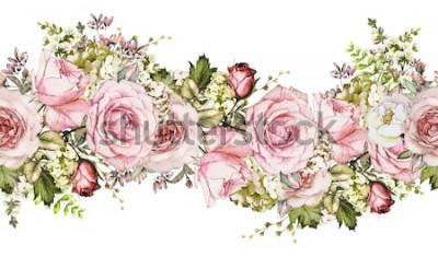 Наклейка изолированный Бесшовные границы с розовыми цветами, листьями. старинный акварельный цветочный узор с листьями и розой. Пастельный цвет. Бесшовные цветочные оправы, ленты для открыток, свадьбы или ткан