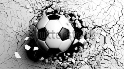 Наклейка Футбольный мяч ломая с большой силой через белую стену. 3D иллюстрации