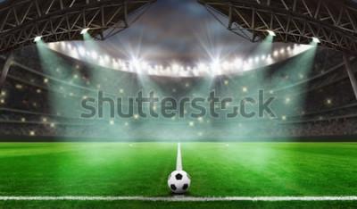 Наклейка футбольный матч начинается - Футбольный мяч на стадионе