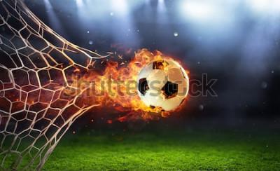 Наклейка Огненный футбольный мяч в ворота с сеткой в огне