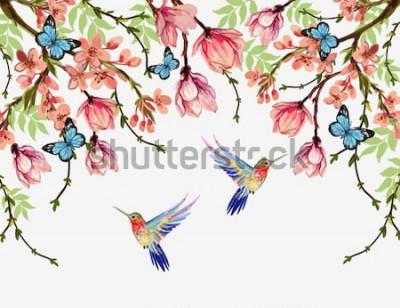 Наклейка Красивый вектор цветочный летний фон образца с тропическими японскими цветами, глицинией, магнолией, бабочками, магнолией. Идеально подходит для обоев, фонов веб-страниц, текстур поверхности, текстиля