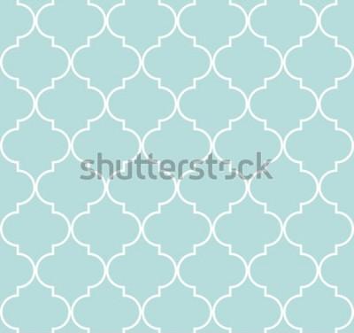 Наклейка Картина четырехлистника геометрическая безшовная, предпосылка, иллюстрация вектора в сини мяты, мягкий цвет бирюзы и белизна.