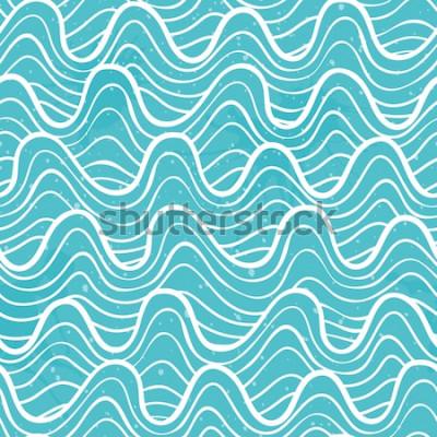 Наклейка Бесшовный фон с океанскими волнами в декоративном стиле. Векторная иллюстрация