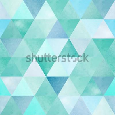 Наклейка акварель бесшовный паттерн с геометрическим треугольником