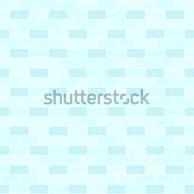 Наклейка Голубой узор кирпичной стены. Бесшовный векторный кирпичный фон