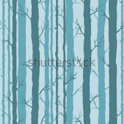 Наклейка Декоративный бесшовный фон с стволами деревьев. Бесконечный орнамент с темно-бирюзовыми стеблями деревьев на синем фоне. Стильное дерево фон для упаковки, обои.
