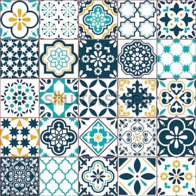 Наклейка Лиссабон геометрический узор плитки Azulejo вектор, португальский или испанский ретро старые плитки мозаика, средиземноморский бесшовные бирюзовый и желтый дизайн. Декоративный текстильный фон