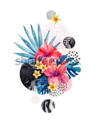 Наклейка Акварель тропические цветы на фоне геометрических с мраморность, каракули текстуры. Вручите оттянутый цветок с веером пальмой, листьями монстеры, геометрическими формами в минимальном стиле. Акварельн