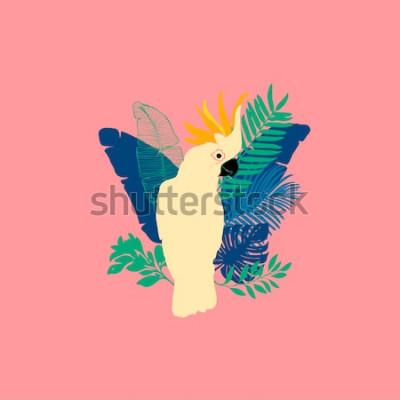 Наклейка Векторная иллюстрация - попугай какаду, экзотические птицы, тропические цветы, пальмовые листья, райская птица