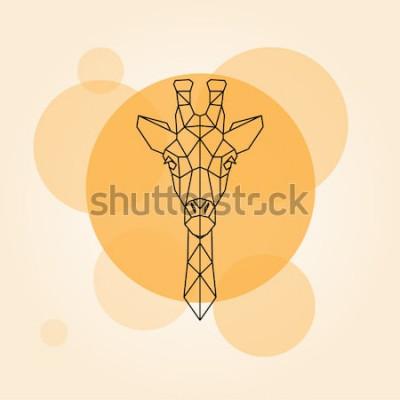 Наклейка Жираф головы геометрические линии силуэт, изолированных на оранжевый круг. Векторная иллюстрация