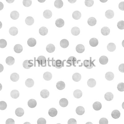 Наклейка Вектор бесшовные модели серых акварельных кругов на белом фоне