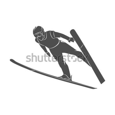 Наклейка Силуэт прыжки лыжник на белом фоне. Фото иллюстрации