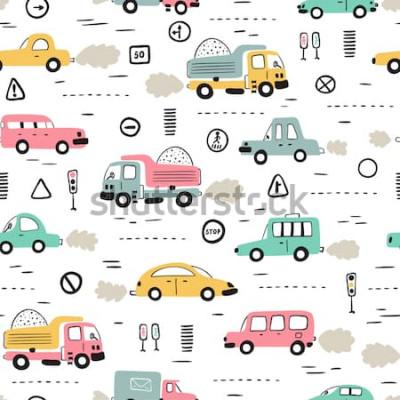 Наклейка Мультфильм транспорт фон для детей. Вектор бесшовные модели с каракули игрушечных машин и дорожных знаков