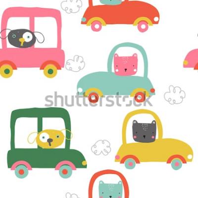 Наклейка Забавные животные в автомобилях бесшовные модели. Симпатичные детские печати. Векторная иллюстрация рисованной