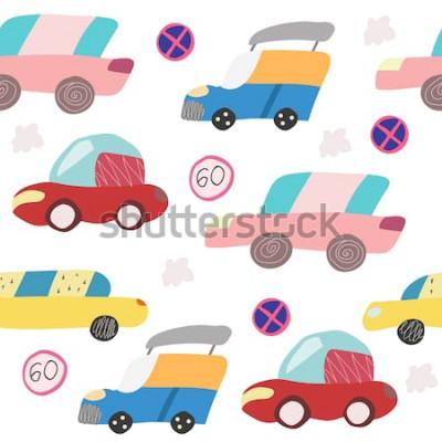 Наклейка Безшовная картина с автомобилем нарисованным рукой на дороге. Скандинавский стиль для детей. Мультфильм иллюстрация