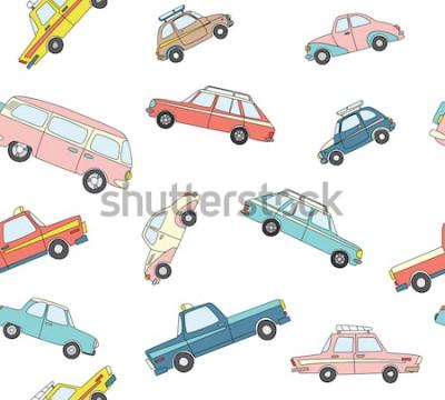 Наклейка Бесшовные с милой ретро рисованной автомобилей