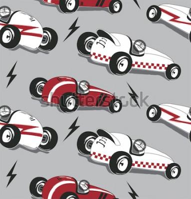 Наклейка Безшовная картина, винтажный график футболки оформления гоночных машин изолированный на сером векторе иллюстрации предпосылки.