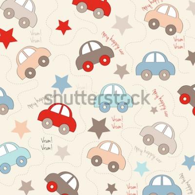 Наклейка бесшовный фон с автомобилями, векторная иллюстрация