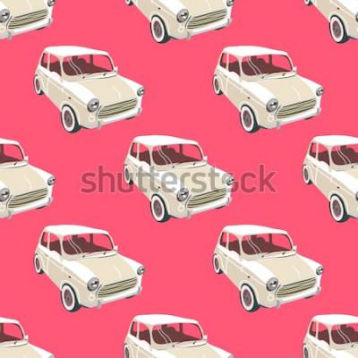 Наклейка Автомобили фон. Ретро автомобиль вектор