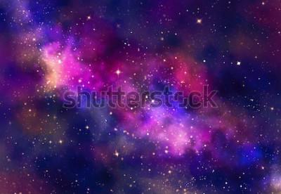 Наклейка Звездное поле в галактическом пространстве с туманностью, абстрактная акварель цифрового искусства живопись на фоне текстуры