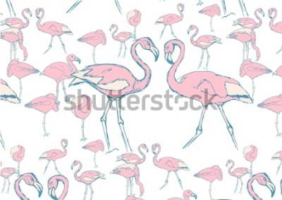 Наклейка узор с розовыми фламинго в воде в разных позах и двумя фламинго с шеей в форме сердца