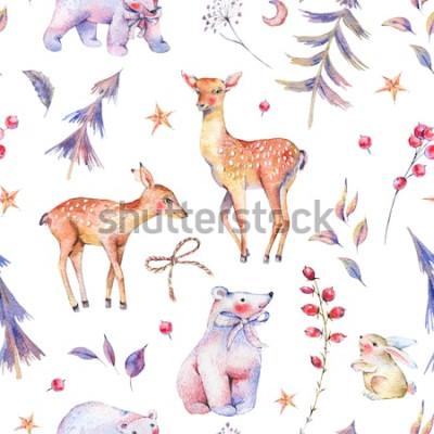 Наклейка Зимняя акварель старинные бесшовные модели с милыми белыми медведями, оленями, оленями, зайцами и волшебный лес на белом фоне, рождественские украшения, мультфильм праздник иллюстрация