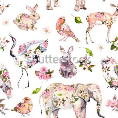 Наклейка Милые животные в розовые весенние цветы. Цветочные бесшовные модели. Женская, девчачья акварель