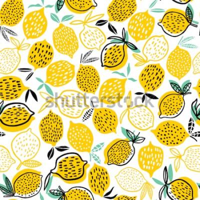 Наклейка Лимонная бесшовные векторные иллюстрации. Летний дизайн