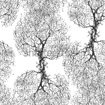 Наклейка Красивые ветви дерева без листьев. Бесшовная текстура Повторный рисунок. Осеннее дерево. Хороший оригинальный фон для вашего блога.