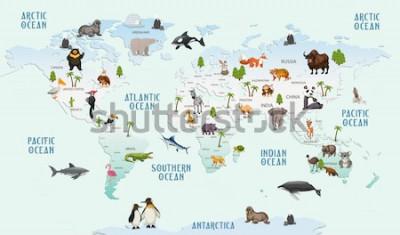 Наклейка карта мира животные для детской комнаты обои